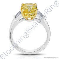 5.28 ctw. 3 Stone Oval Yellow Sapphire and Diamond Baguette Ring - 2