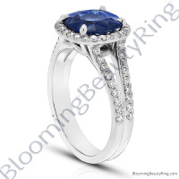 3.75 ctw. Blue Cushion Sapphire Halo Ring with 60 Round Diamonds - rcc20831-2