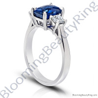 3.77 ctw. Radiant Cut Blue Sapphire Ring with Radiant Side Diamonds -3