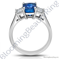 3.77 ctw. Radiant Cut Blue Sapphire Ring with Radiant Side Diamonds -2