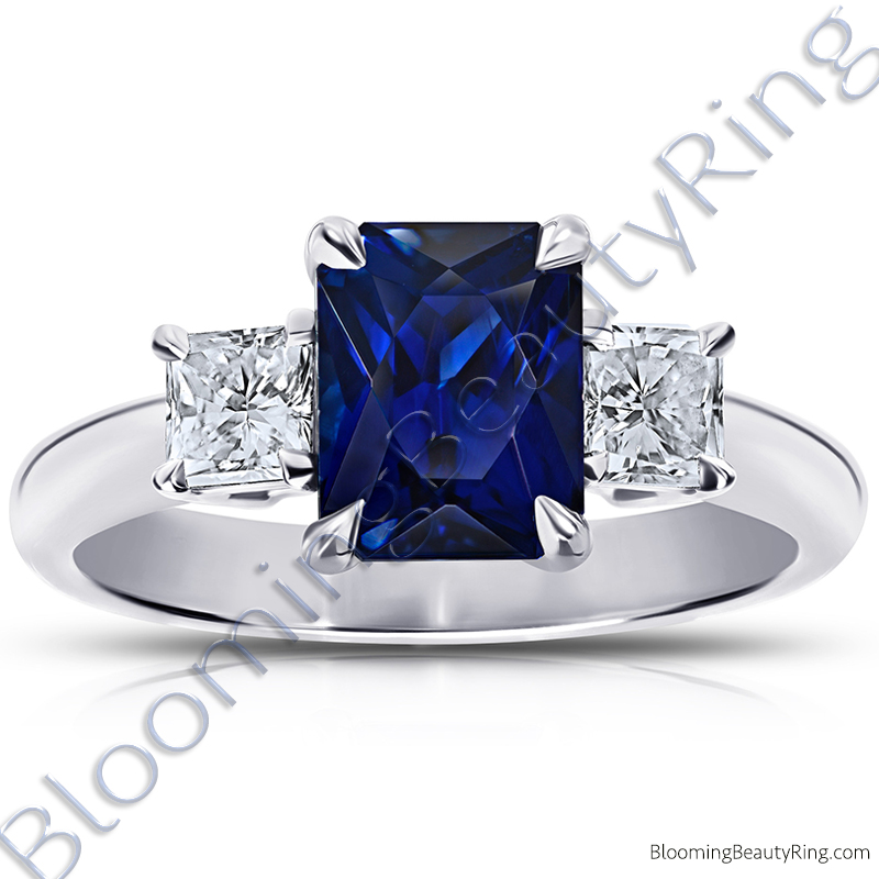 3.77 ctw. Radiant Cut Blue Sapphire Ring with Radiant Side Diamonds - rcc20664