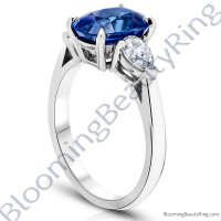 3.93 ctw. Cushion Blue Sapphire Ring with Pear Side Diamonds-2