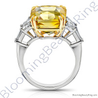 5 Stone 15.84 ctw. Yellow Octagonal Sapphire and Diamond Ring - 2