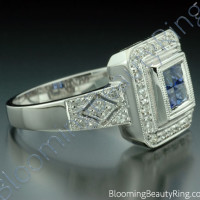 .57 ctw. Diamond and Blue Sapphire Double Square Top Ring - 3