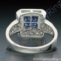.57 ctw. Diamond and Blue Sapphire Double Square Top Ring - 2
