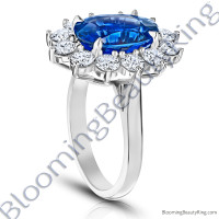 7.70 ctw. Diamond and Oval Blue Sapphire Princess Di Ring - rcc20839-2