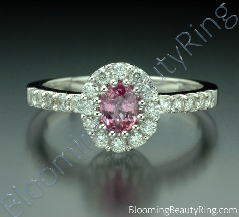 .89 ctw. Diamond and Oval Pink Halo Sapphire Ring - cgrRG198