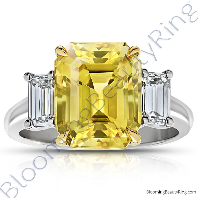 8.99 ctw. Emerald Yellow Sapphire Ring with Emerald Side Diamonds - rcc20899