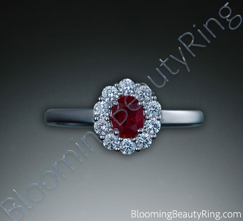 .60 ctw. Fine Oval Ruby and Diamond Ring - cgrRG7062