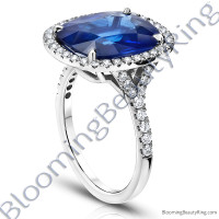 7.94ctw. Halo Split Shank Blue Cushion Sapphire and Diamond Ring - rcc20685-2