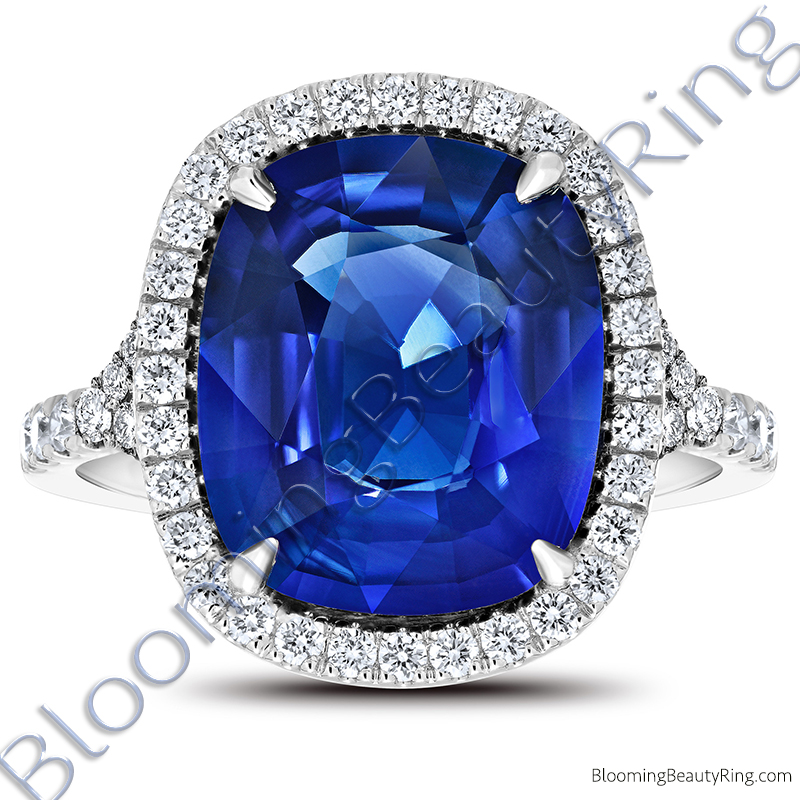 7.94ctw. Halo Split Shank Blue Cushion Sapphire and Diamond Ring - rcc20685