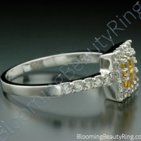 .69 ctw. Invisible Set 4 Yellow Sapphire Diamond Ring - 2
