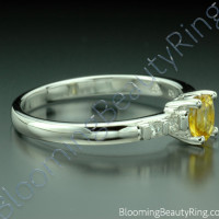 .64 ctw. Oval Yellow Sapphire and Princess Diamond Ring - 2