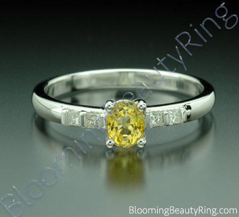 .64 ctw. Oval Yellow Sapphire and Princess Diamond Ring - cgrRG189