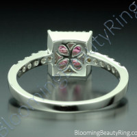 .76 ctw. Invisible Set with 4 Pink Sapphires and Diamond Ring - 2