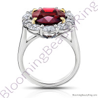 8.97 ctw. Red Oval Spinel Princess Di Halo Ring with Oval Side Diamonds - 2