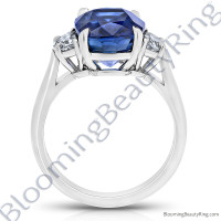 3.51 ctw. Square Emerald Blue Sapphire Ring with Asscher Side Diamonds - 3
