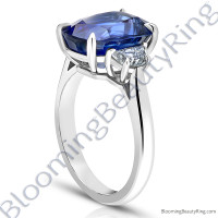 3.51 ctw. Square Emerald Blue Sapphire Ring with Asscher Side Diamonds 2