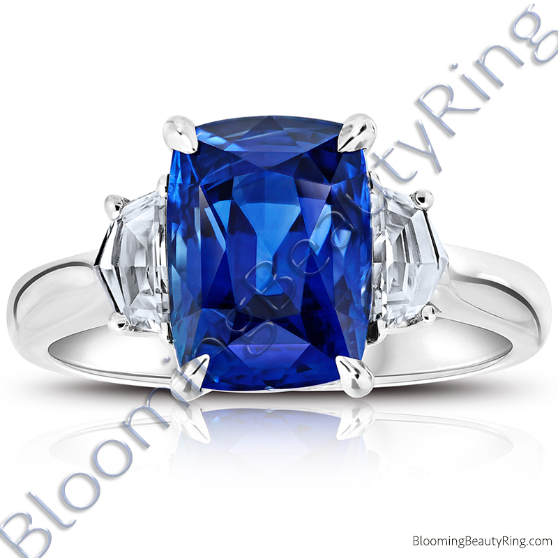 6.11ctw. Three Stone Diamond Pentagonal and Sapphire Blue Cushion Step Cut Ring - rcc20667