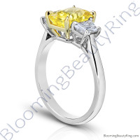 3 Stone 3.96 ctw. Radiant Cut Yellow Sapphire Ring with Trapezoid Side Diamonds - 3