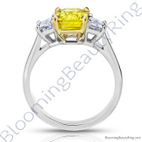 3 Stone 3.96 ctw. Radiant Cut Yellow Sapphire Ring with Trapezoid Side Diamonds - 2