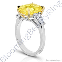 7.94 ctw. Yellow Emerald Cut Sapphire Ring with Brilliant Baguette Side Diamonds 3