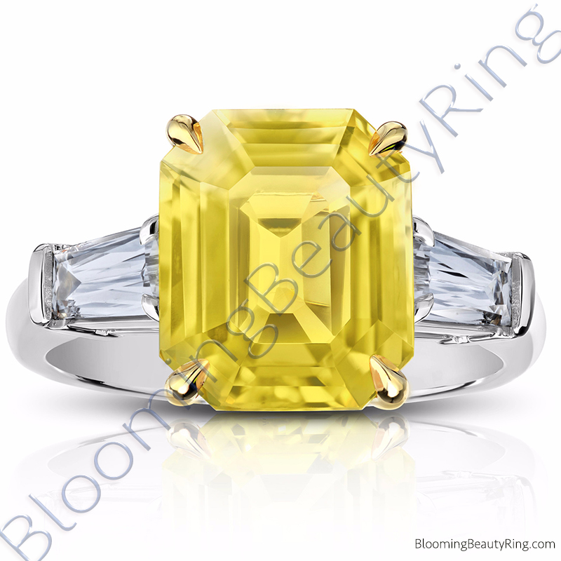 7.94 ctw. Yellow Emerald Cut Sapphire Ring with Brilliant Baguette Side Diamonds - rcc20968