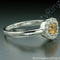.65 ctw. Round Yellow Sapphire and Diamond Ring - 2