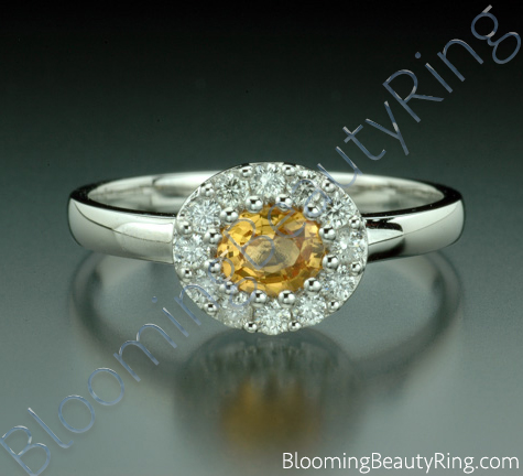 .65 ctw. Round Yellow Sapphire and Diamond Ring - cgrRG188