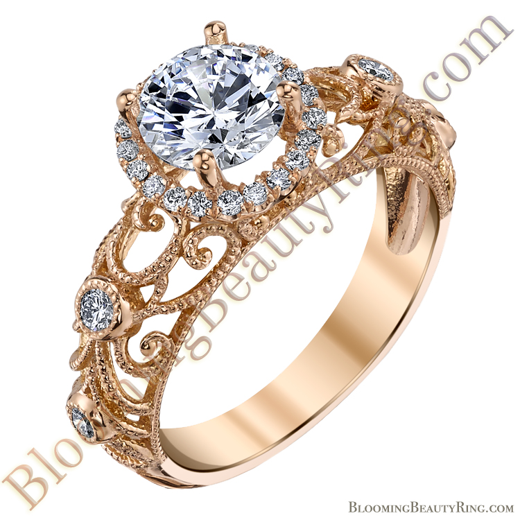 Rose Gold Ornamental Filigree Diamond Halo Engagement Ring