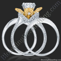 Double Band Two Toned White and Yellow Gold Flower Ring Set