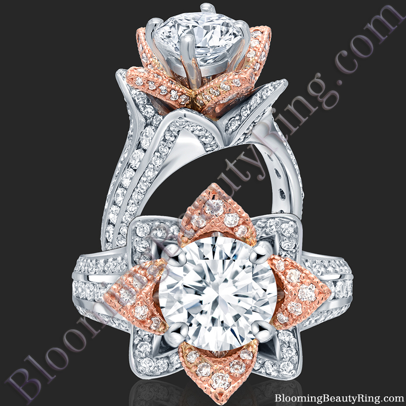 Two Toned Rose Gold and White Blooming Beauty Flower Ring