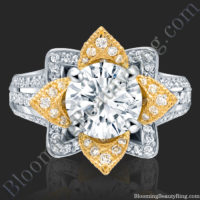 Yellow Gold and White Blooming Flower Ring