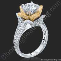 Yellow Gold and White Blooming Beauty Flower Ring – bbr434tty