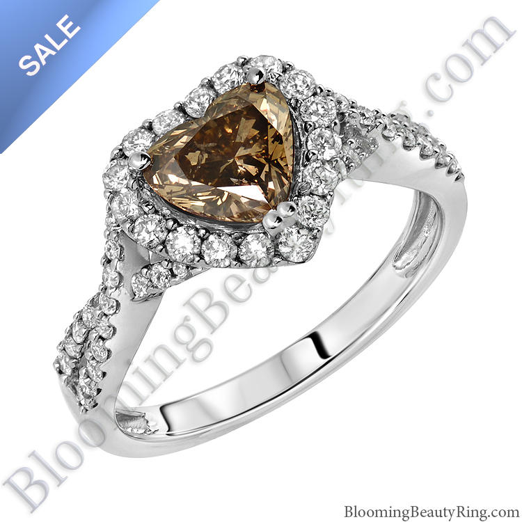 On sale fancy brown heart diamond halo engagement ring for Diamond wedding rings on sale