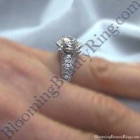Small Hand Engraved Blooming Beauty Rose Engagement Ring 3