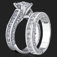 Jewelers Impressive Princess Cut Engagement Rings with Well Over 3 Carats of Diamonds<br>$5200
