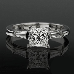 4 Prong 3 Stone Princess Diamond Setting with 2 Baguette Side Diamonds<br>$1700