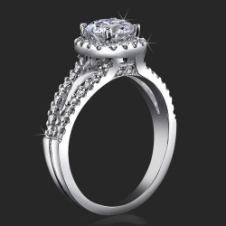 Art-Nouveau 4 Prong Split Shank Halo Engagement Ring Setting with Four Pave Peekaboo Diamonds<br>$1880
