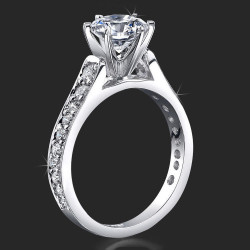 Reverse Tapered Gold Engagement Ring with Pave Set Diamonds and Medium Profile<br>$1830