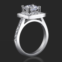 Low Set Princess Cut Diamond Halo Ring with Round Pave Diamonds