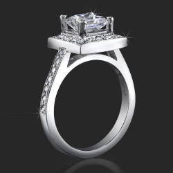 Low Set Princess Cut Diamond Halo Ring with Round Pave Diamonds<br>$2050