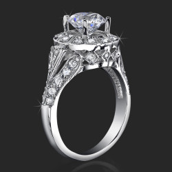 Antique Bezel Engagement Ring With Vintage Art Deco Styling And High Mount<br>$2150