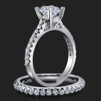Jewelers Handmade Petite Common Prong Pave Set Brilliant Diamond Engagement Rings<br>$2750
