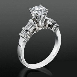 Tiffany Style Engagement Ring with Tapered Baguette and Small Round Side Accent Diamonds<br>$1800