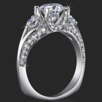 3 Stone Ring Uniquely Designed U Shaped Prongs for Maximum Beauty and Lovely Compliments<br>$2400