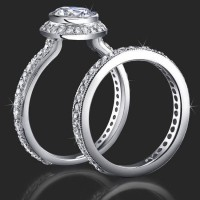 Jewelers Affordably Priced Round Bezel Set Halo Engagement Rings with Pave Set Diamonds<br>$2750