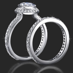 Affordable Halo Engagement Ring with Bezel Set Diamond and Not Too Thin Band<br>$1650
