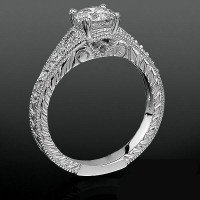 Artistic Hand Carved Design Split Shank Diamond Engagement Ring
