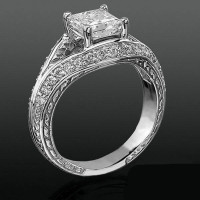Diamond Paved Artistically Designed Split Shank Engagement Ring<br>$1800